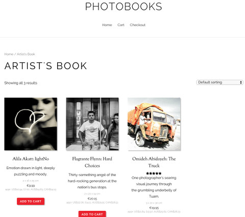 PhotoBooks: page for a specific category