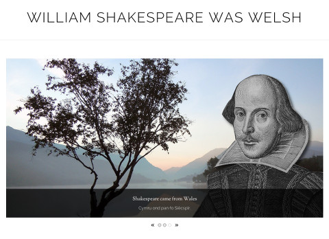 Shakespeare was Welsh: First panel, featuring 3-part slider