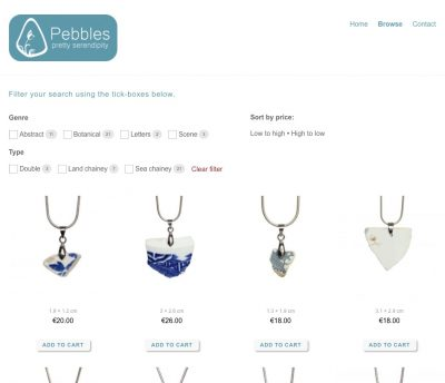 Pebbles store page