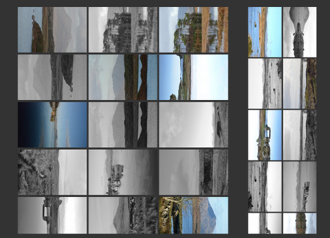 Connemara as form: array of photographs, each deliberately rotated 90 degrees.